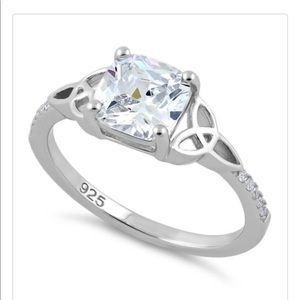 Cushion Cut Clear Cz Celtic Sterling Silver Ring